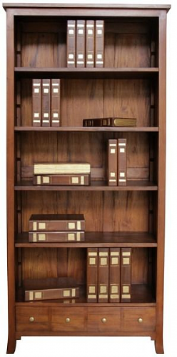 Tall and Wide Bookcase with Four Drawers in Mahogany